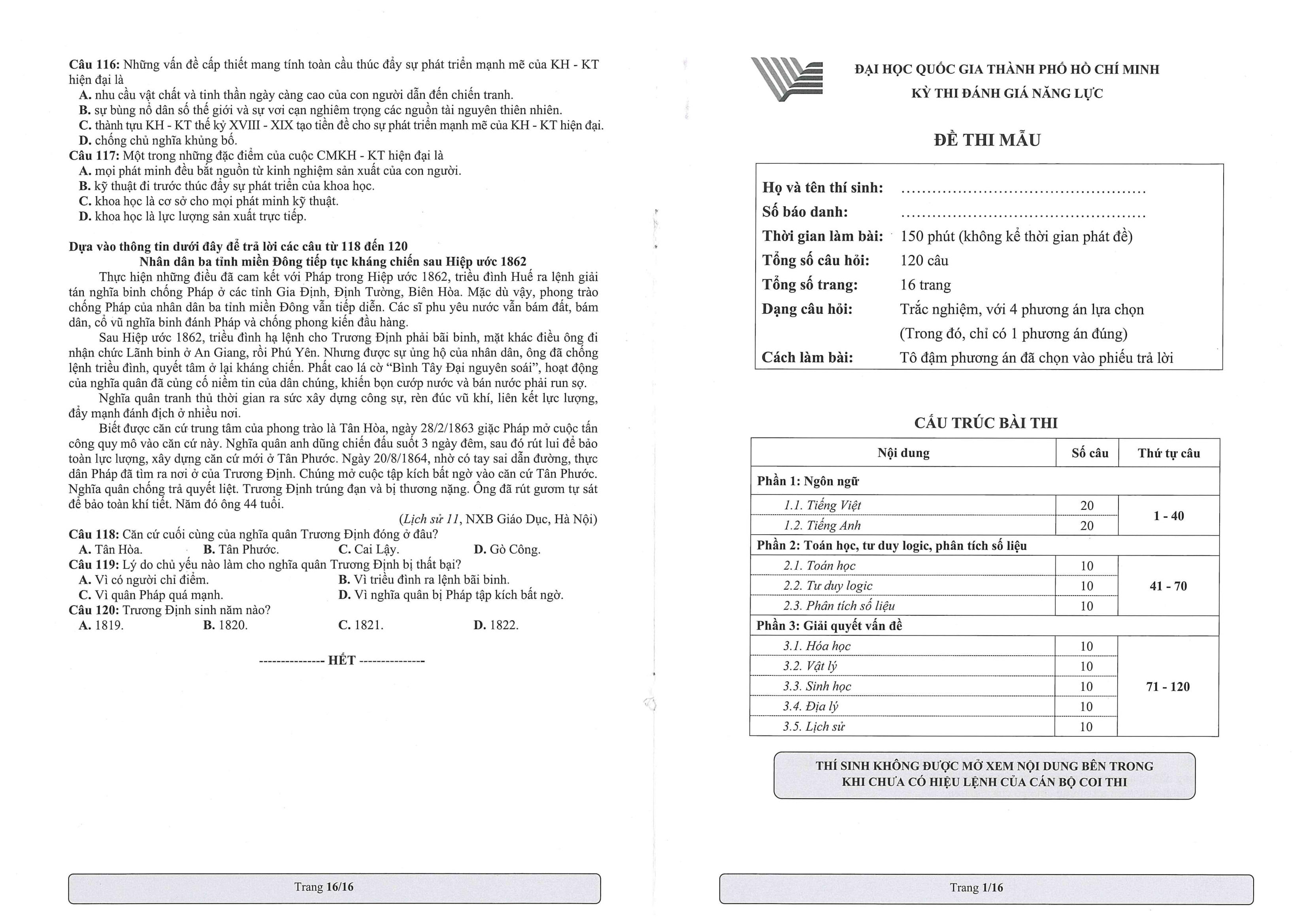 Bộ đề mẫu kỳ thi đánh giá năng lực năm 2021