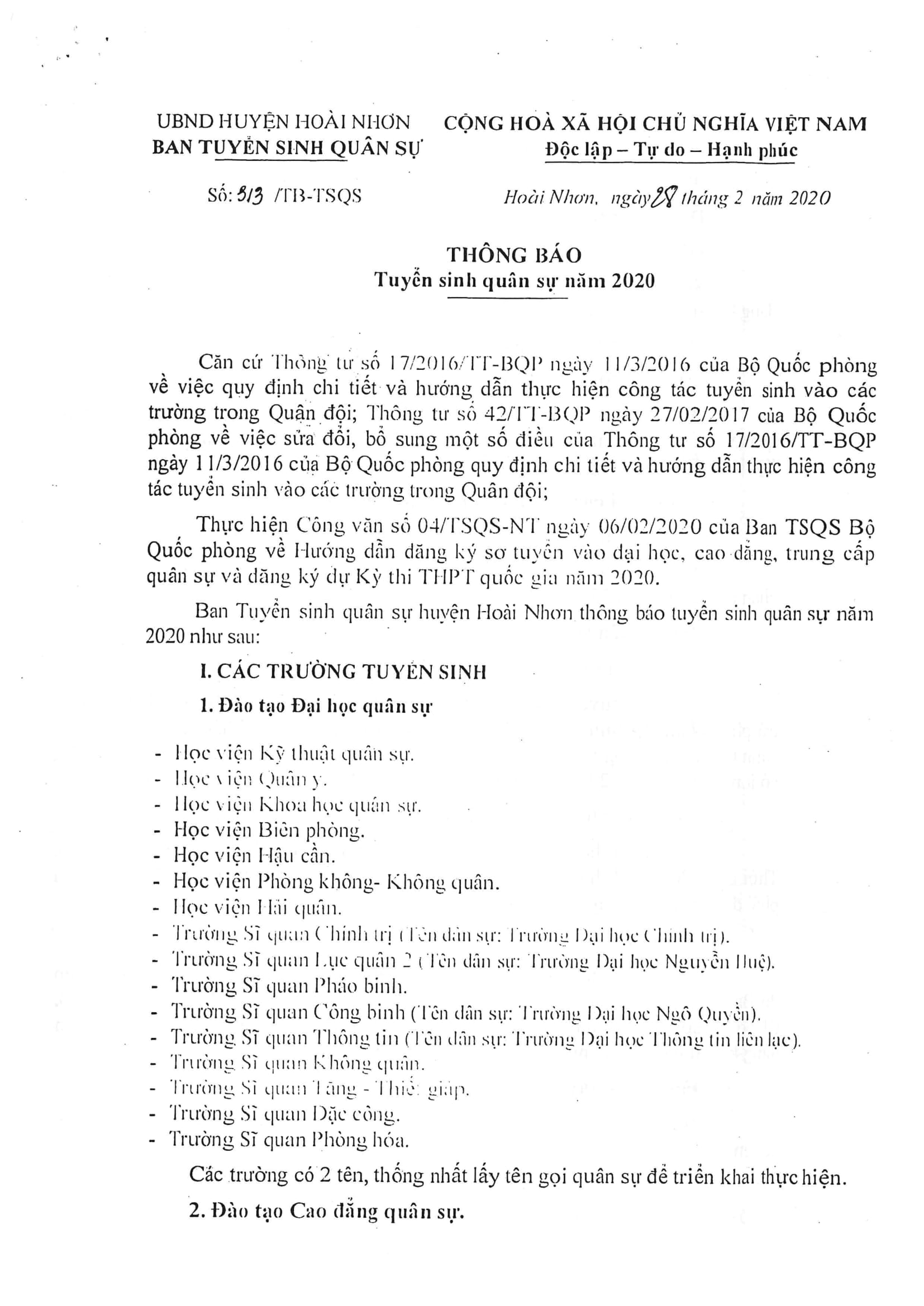 Thông báo tuyển sinh quân sự huyện Hoài Nhơn năm 2020
